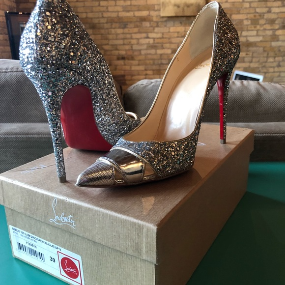 huge selection of 2d3e4 1c6a6 Louboutin Biblio Silver Glitter, like new heels